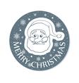 Round christmas greeting with santa face grey vector