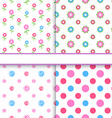 Set of floral and polka dot fabric seamless vector