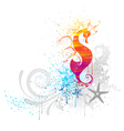 Sea horse drawn with paint vector