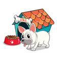 A cute bulldog outside the doghouse vector