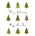 Christmas trees new year lettering vector