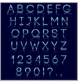 Blue alphabet letter digits and punctuation signs vector