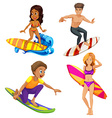 Male and female surfers vector