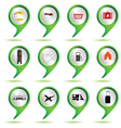 Set of green map pointer with travel sign vector