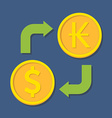 Currency exchange dollar and kip vector