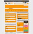 Web design elements set orange vector