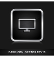 Monitor screen icon silver metal vector