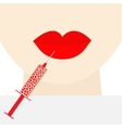 Woman face big thick red lips and neck syringe vector