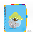 Note book blue color with pencil vector