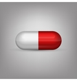 Red and white capsule pill vector