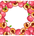 Background design with stylized fresh ripe peaches vector