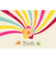 Flower with rainbow vector