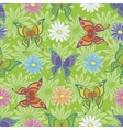 Seamless pattern butterflies and flowers vector