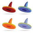Sombrero in four color art vector