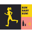 Silhouette of a running girl vector