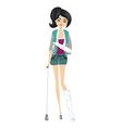 Sad girl with a broken arm and leg vector