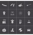 Black halloween icons set vector