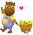 Cow with wooden cart vector