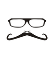 Men face with long mustache and huge glasses vector