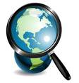Globe under magnifying glass vector