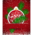 Christmas background wticker ball and tree branch vector