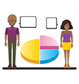 A graph with two people vector