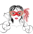 Girl in a carnival mask vector