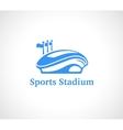 Sports stadium logo in blue vector