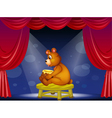 A bear with a pot of honey sitting at the stage vector