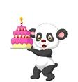 Panda cartoon with birthday cake vector