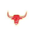 Angry bull head tongue out retro vector