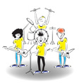 A band on stage vector