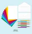 Note paper full color with pencil and letter vector