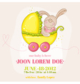 Baby girl arrival card - with baby bunny vector