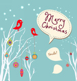 Retro christmas card with two birds white vector