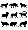 Big wild cats silhouettes detailed vector