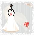Beautiful pregnant bride silhouette vector
