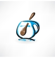Cup and spoon grunge icon vector
