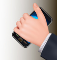Hand holding mobil telephone vector