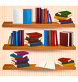 Bookshelf with colorful books and clock vector