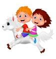 Cartoon boy and girl riding a pony horse vector