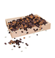 A lot of coffee beans in wooden container vector