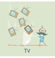Man catches a butterfly net tv vector