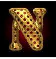 Golden and red letter n vector