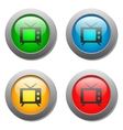 Tv icon set on glass buttons vector