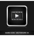 Video format icon silver metal vector