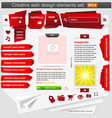 Creative web design elements set red vector