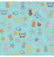 Seamless pattern with colorful sea animals vector