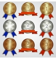 Set of metallic badges with ribbons for the first vector