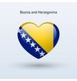 Love bosnia and herzegovina symbol heart flag icon vector